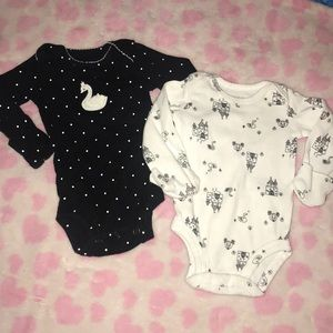 Just One You by Carter's 2 pk Swan Bodysuits NB